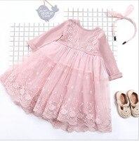 2018 Spring Autumn Fairy Girls Lace Dresses 1pcs Children Long Sleeved Soft Prince Dress Baby Girl