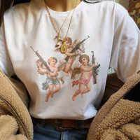 Engel 90 s Mode T Hemd Frauen Kawaii Druck Kurzarm Oansatz T-shirt Vintage Vogue Ullzang T-shirt Harajuku Top Tees weibliche