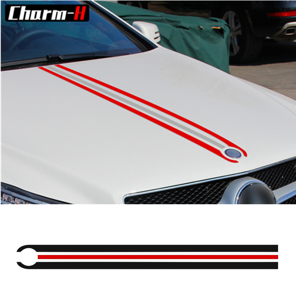 Bonnet Stripes Hood Decal Engine Cover Stickers for Mercedes Benz A C GLA GLC CLA 45 AMG W176 C117 W204 W205 W203 C63 W212 W211 Car Stickers Automobiles & Motorcycles - title=