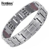 Hottime Men Jewelry Healing Magnetic Bangle Balance Health Bracelet Silver Titanium Bracelets Special Design For Male