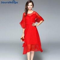 JoursNeige High Endผ้าไหมซาตินชุดผู้หญิงชุดผ้าไหมธรรมชาติผ้าไหมออกแบบอสมมาตรOคอ