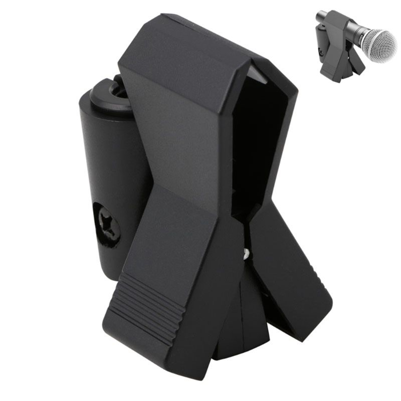 Flexible Microphone Mic Stand Accessory Plastic Clamp Clip Holder Mount Black