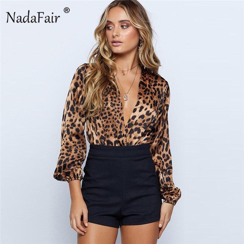 Nadafair long sleeve leopard print bodysuits women   jumpsuits   deep v neck sexy rompers female casual slim leopard vintage tops