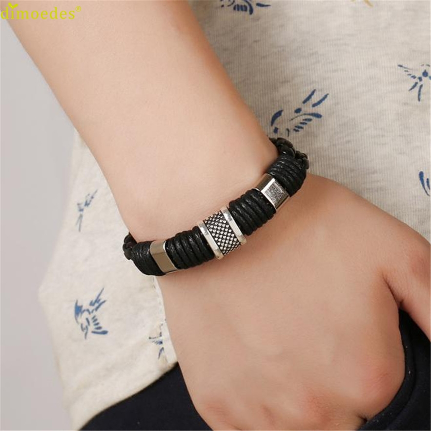 Diomedes Newest Bracelet Women 1PC leather Bracelet Men Stainless Steel Leather Hand Woven Jewelry Bracelet Gift #0303