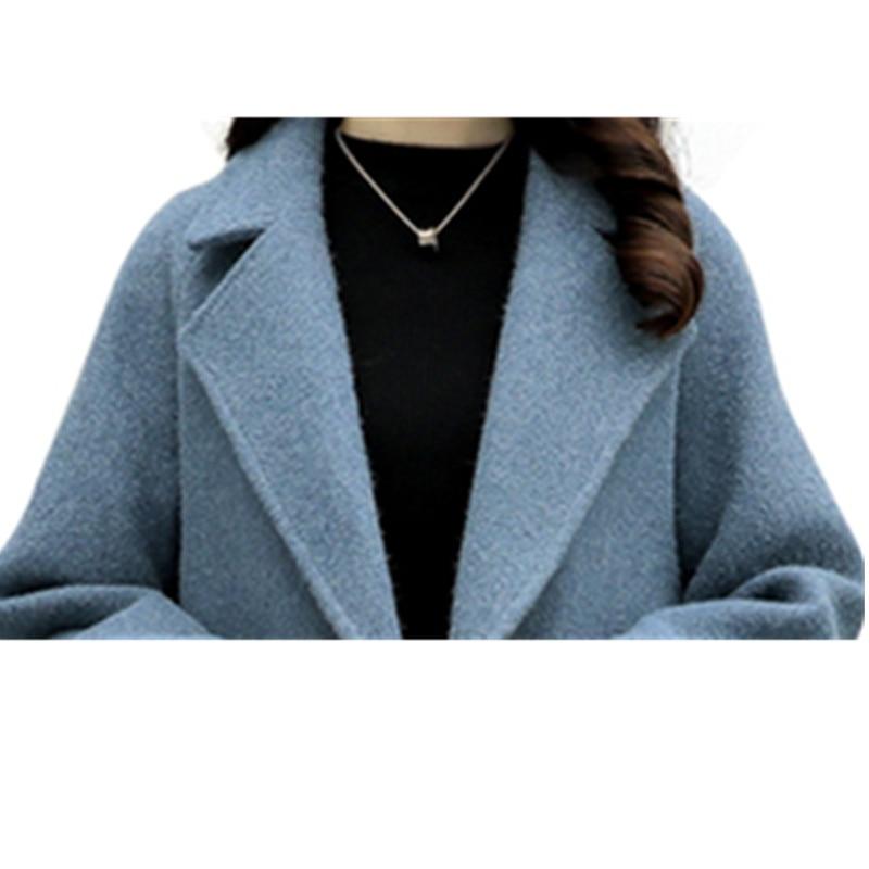 blue Épais Breasted Hiver Femmes Femme De Manteau 2017 Pzlcxh Automne Zl0929 Nouveau Champagne pink Long Laine Veste Mode Lâche Double ZwZqvU