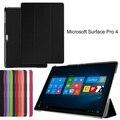 Capa de couro inteligente Folio ultra fino caso PU capa stand case para Microsoft Surface Pro 4 12.3 polegada tablet + presente