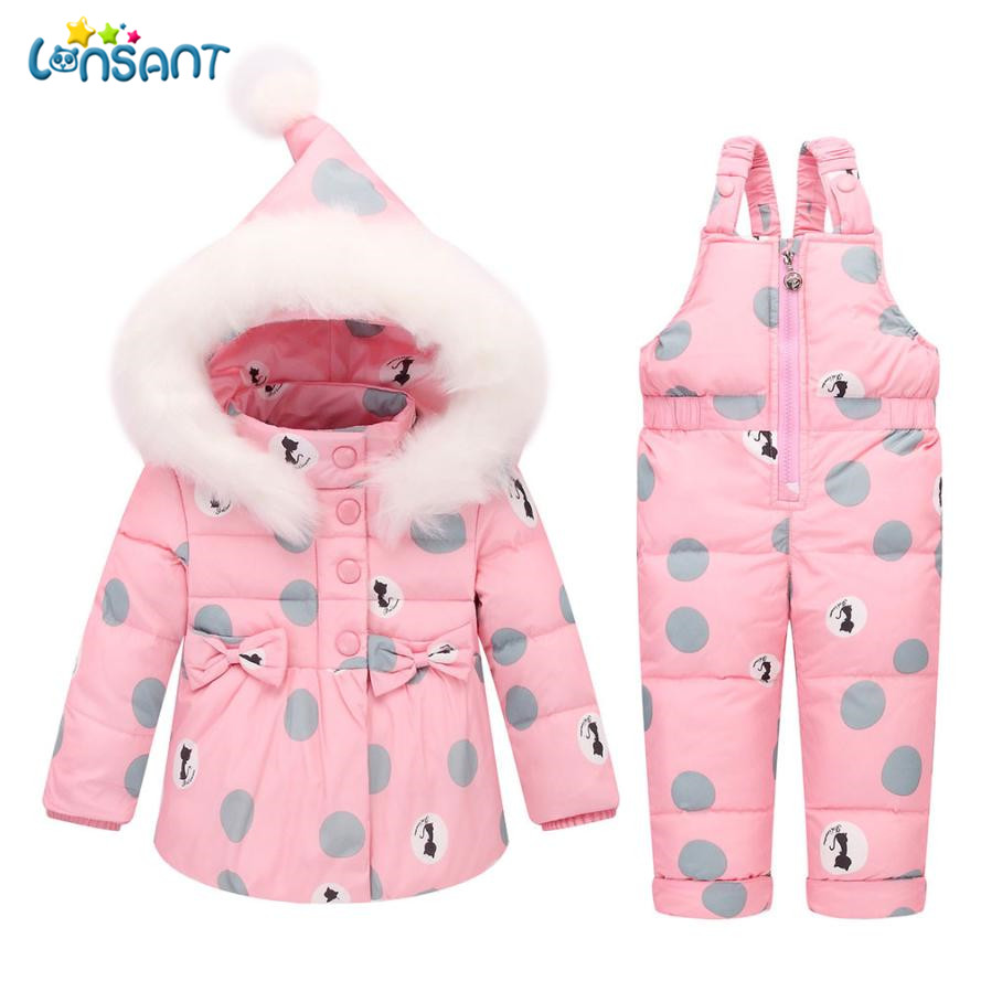 LONSANT Clothing Sets Children Winter Warm Clothes Boys Girls Unisex Thick Coat + Jumpsuit Baby Kids Jacket Dropshipping D27 lonsant clothing sets children winter