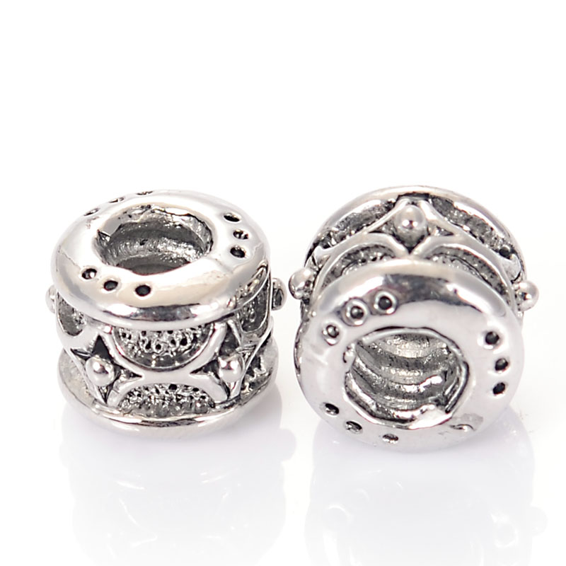 Luxury Antique Silver Gold Color Plated Pewter Large Hole Bead Charms Fit Original Pandora Charm Bracelet DIY Jewelry Making