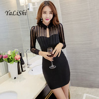 2017 Autumn Women Dress Black Red White Long Sleeve Gauze Patchwork Bodycon Dress Sexy Slim Party