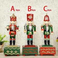 HT056 Free shipping toy 31CM fine painted nutcracker Music Box walnut soldiers Exquisite Gift Box Christmas gift