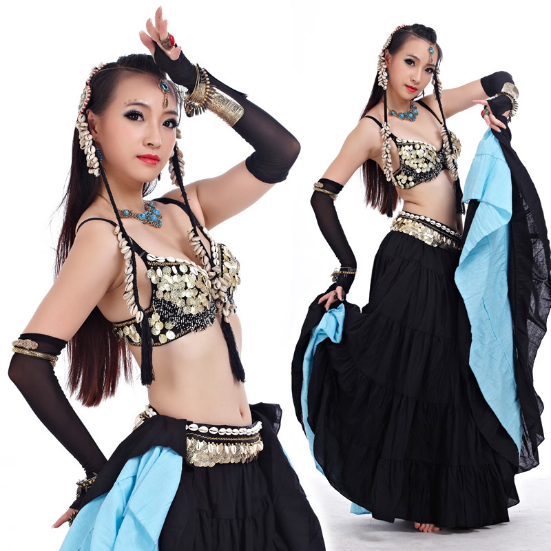 ATS 2018 New Tribal Belly Dance Clothes For Women 4 Pieces Outfit Set Antique Bronze Beads Bra Belt Skirts Gypsy Dance Costumes