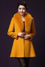 women jacket women winter coat  Winter cashmere coat fox fur long section temperament Slim woolen coat big yards free shipping