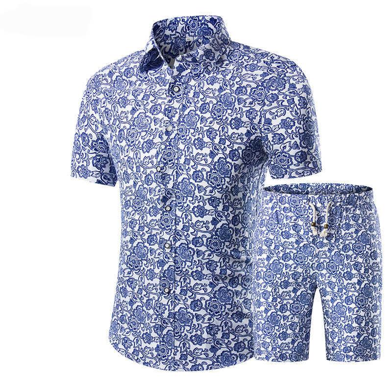 2018 letnie modne kwiatowe koszule z nadrukiem męskie + zestaw szortów męskie koszule z krótkim rękawem Casual Men odzież zestawy dres Plus rozmiar 5XL