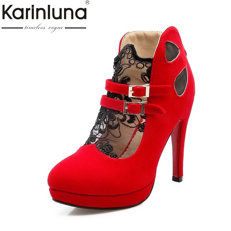 KarinLuna Big Size 32-43 Women Pumps Fashion Buckle Strap High Heels Round Toe Platform Sh