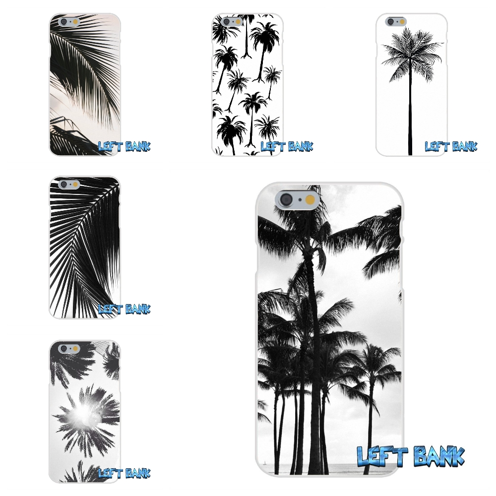 For iPhone 4 4S 5 5S 5C SE 6 6S 7 Plus Black white palm leaves palm trees Art Soft Silicone TPU Transparent Cover Case
