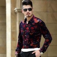 Factory direct sales men shirts 2016 autumn winter fashion velvet Luxury quality long sleeve print flower shirt plus size S 3XL