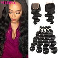 Indian Virgin Hair with Closure 5 Bundles Deals 8A Indian Body Wave 4 Bundles with Lace Closures Meches Bresilienne Lots avec