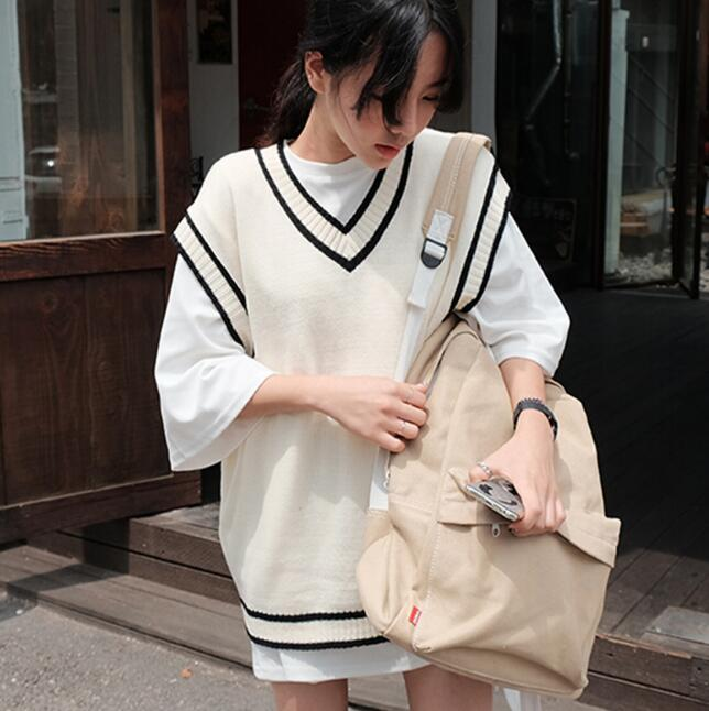 2017 Spring School Sweater V-neck Sweater-Vest-Woman