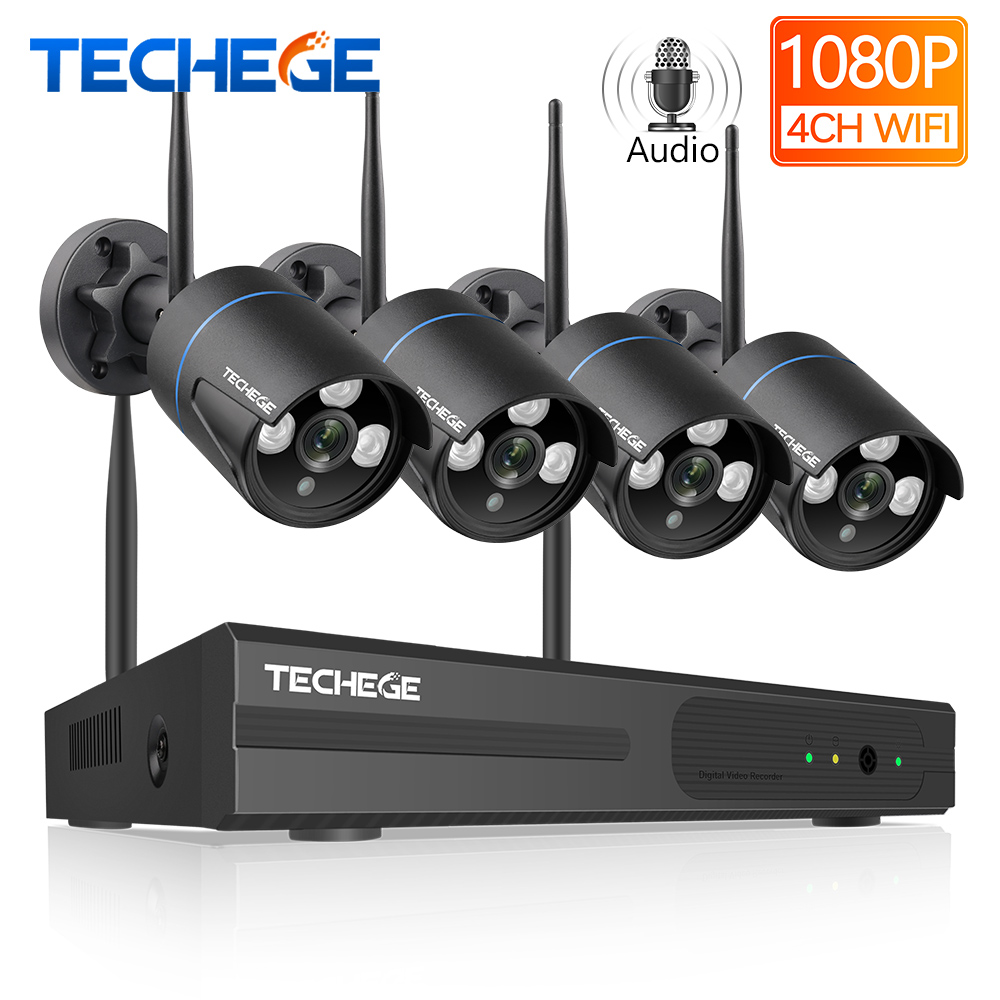 Techege Drahtlose CCTV System 1080 P Audio Record 2MP 4CH NVR Wasserdichte Outdoor WIFI CCTV Kamera System Video Überwachung Kit