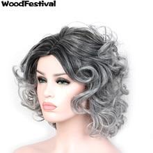 WOODFESTIVAL короткие парики для чернокожих женщин ombre черный серый парики термостойкие синтетические волокна парик 40 см вьющиеся синтетический парик волос