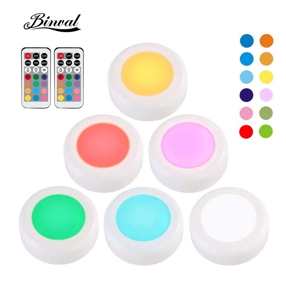 Binval RGB 12 Colors Under Cabinet Light Dimmable For Kitchen LED Puck Lights Wireless Closet Wardrobe Stair Hallway Night Lamp