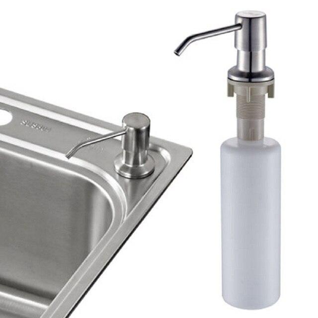 Stainless Steel Head Soap Dispenser Bathroom Sink Liquid Lotion Holder With Plastic Bottle Kitchen Detergent