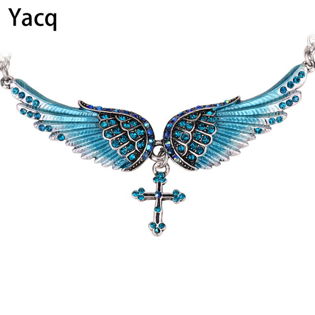 Yacq Angel Wing Cross Choker Necklace Guardian Women Biker Crystal
