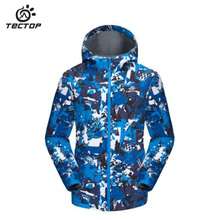TECTOP Men camouflage camp soft shell ski jacket outdoor Waterproof windproof Camping hiking soft shell Men keep warm jacket