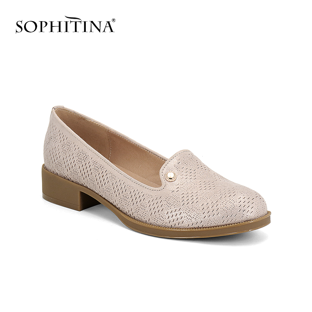 SOPHITINA Basic Women s Pumps Low Square Heel Cow Leather Slip On Round Toe Casual Fashion