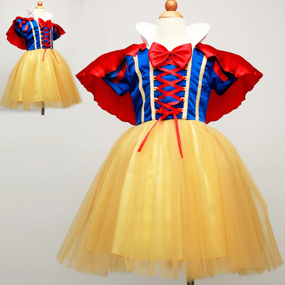 2016 New Hot Sale Snow White Princess Dress with Red Cape and Bow Kids Girl Dresses Party Cosplay Children Clothing Sets Costume hot sale halloween cosplay costume for women snow white princess black wigs free shipping