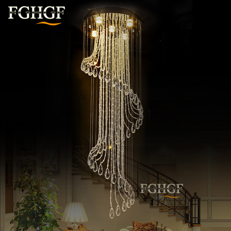 Luxurious Lamparas Crystal Ceiling Light 110v 220v Sprial Ceiling Lighting Lamp Flush Mounted Lustres de Cristal For Living Room