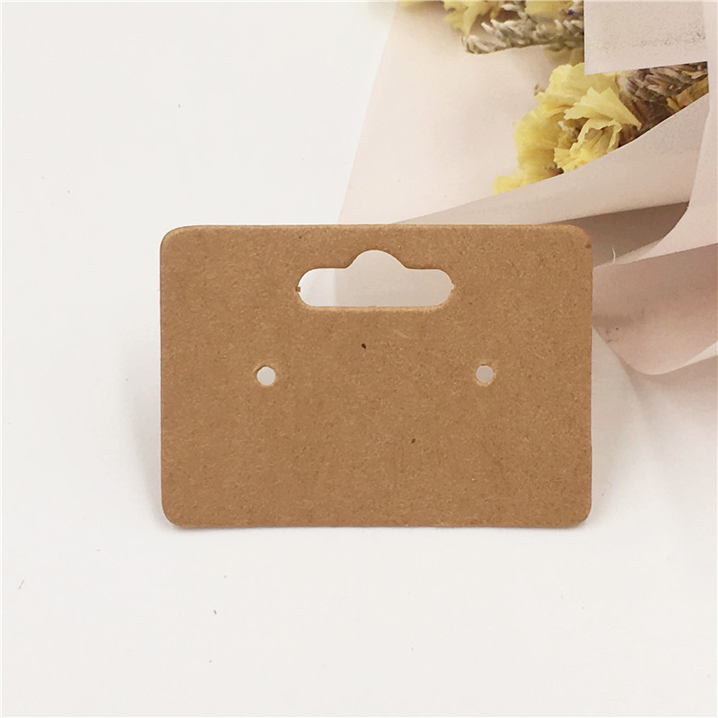 200PCS Kraft Paper Cute Stud Earring HangTag Card  Jewelry Display Packing Card Can Doodling Accept Customize Logo