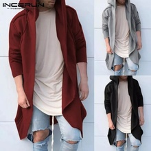 ZOGAA Fashion Street Wear Men Long Hooded Thin Cardigan Cape Coats Casual Sleeve Cotton Jacket  European Size S-3XL