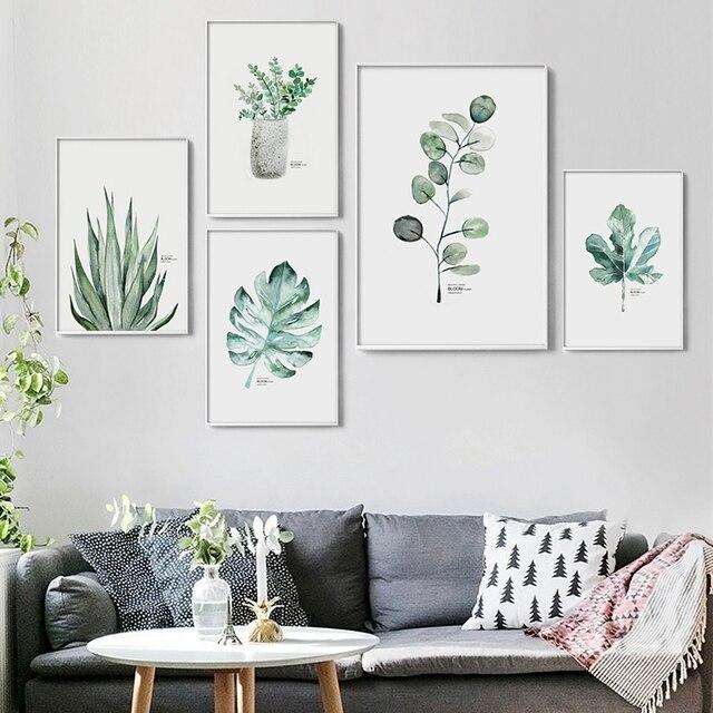 Aquarell Vase Grüne Pflanze Leinwand Malerei Kunstdruck Poster Bild Wand Moderne  Minimalist Schlafzimmer Wohnzimmer Dekoration
