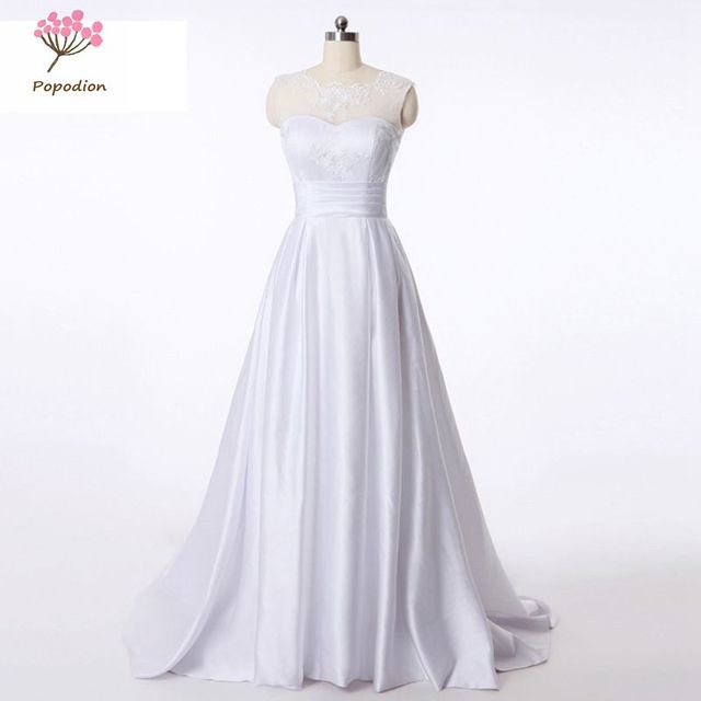 2018 Popodion Simple Lace Vintage Mariage Wedding Gown White Wedding ...