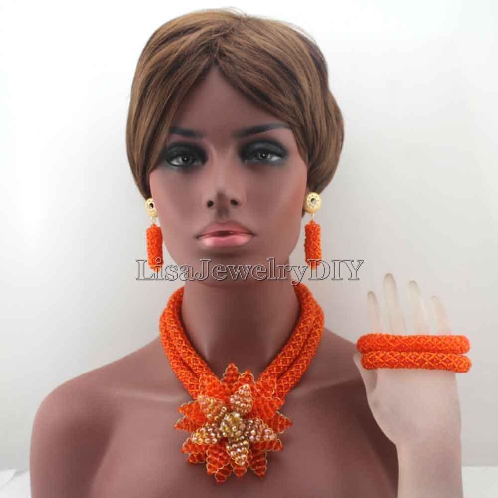 Здесь продается  Fabulous Clear Orange Nigerian Wedding African Beads Jewelry Set Big Flower Statement Crystal Jewelry Set Silver Beads SetHD8340  Ювелирные изделия и часы