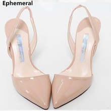 Lady zapatos mujer back strap sandals patent leather closed toe shoes office elegant sandalias 2018 pointed toe 7cm 9cm 5cm heel