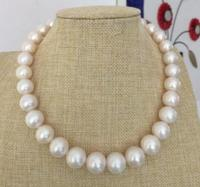 Jewelry 12 14mm south sea natural round white pearl necklace 17.5 14 yellow gold