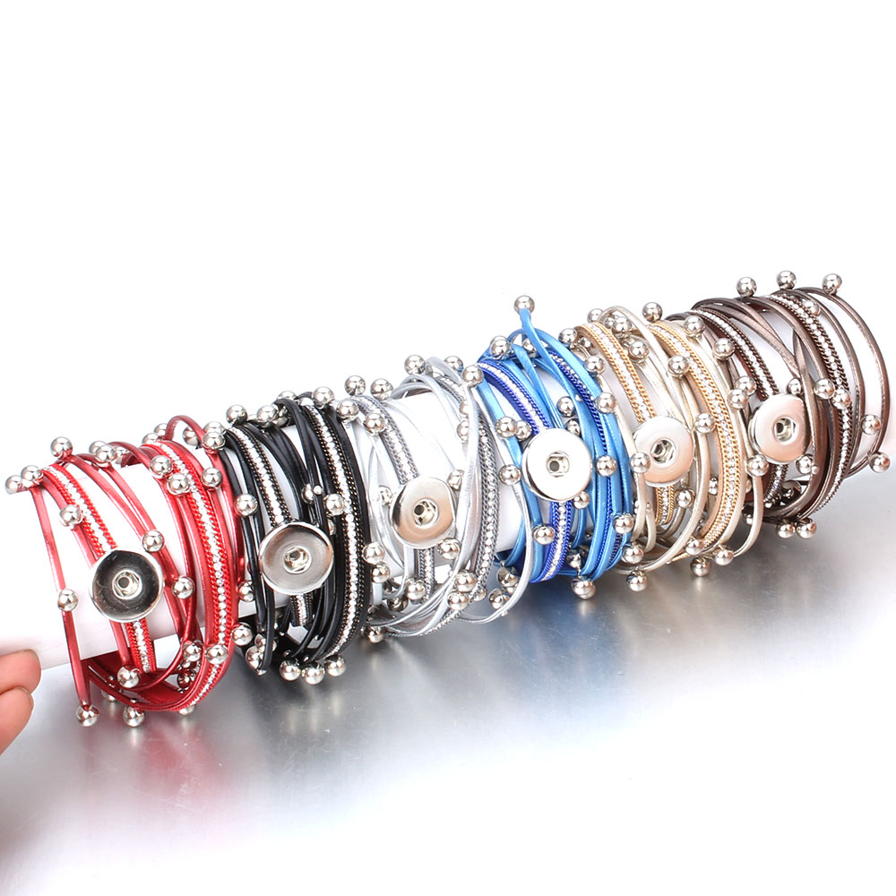 10pcs/lot Snaps Jewelry Vintage Crystal Leather 18mm Snap Button Bracelet Bangle Punk Multilayer Leather Bracelet Wrap Bracelets