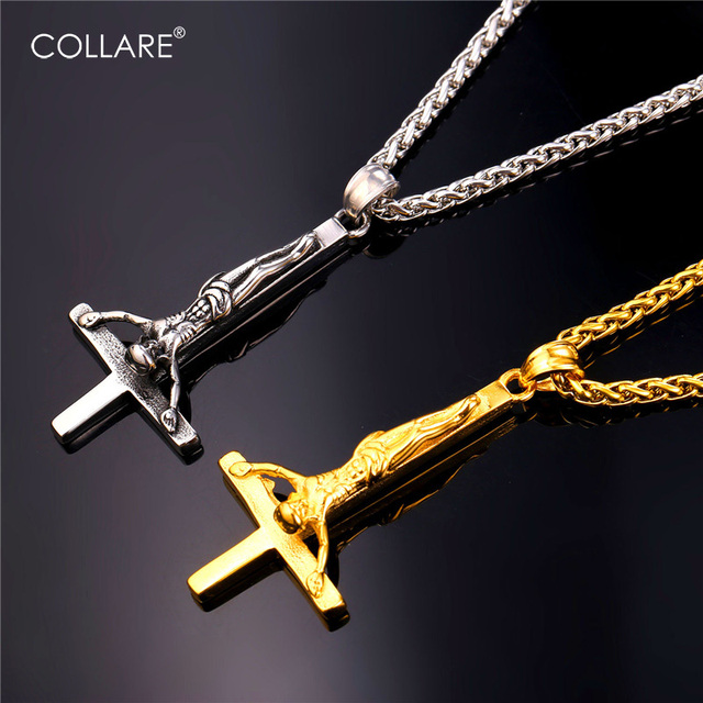 Collare upside down cross pendant men stainless steel gold color collare upside down cross pendant men stainless steel gold color necklace women gothic inverted cross of aloadofball Gallery