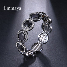 Emmaya Punk Rock Style Cuff Bangle Bracelet for Women Men Charm Black Bracelets Jewelry Party Gift(China)