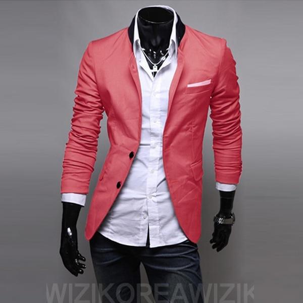 Блейзер Мужской бренд мужской одежды Блейзер костюм Фитнес повседневные Костюмы мужские спортивные пиджаки куртка пальто для мужчин - Цвет: Красный