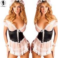 2016 France Style Maid Uniform Plus Size XXXL Sexy Lingerie Hot Perspective Gauze Lace Slim SM