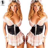 2016 France Style Maid Uniform Plus Size XXXL Sexy Lingerie Hot Perspective Gauze Lace Slim SM