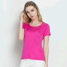 Silk women T shirt 100% Natural silk basic shirt Short sleeve solid women top 2018 new white black