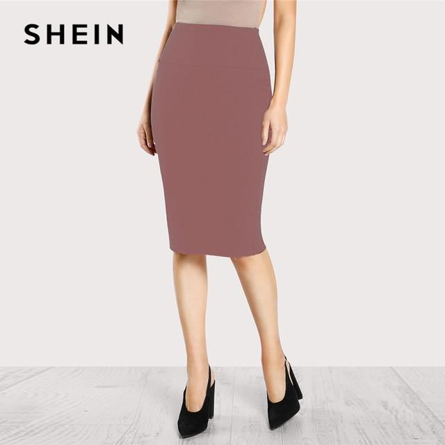 ab60448f6 SHEIN Pink Elastic Waist Pencil Skirt Casual Sheath Knee Length Mid Waist  Skirts Women Autumn Basic Minimalist Workwear Skirt