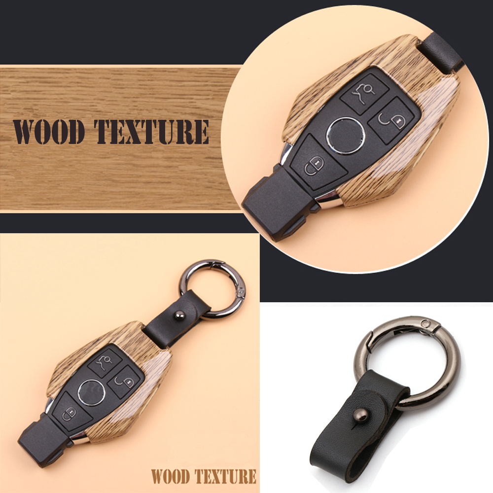 New Fashion Wood texture Metal Car key case For Mercedes Benz W203 W204 W212 CLK C180 E200 AMG C E S Class Smart key cover shell