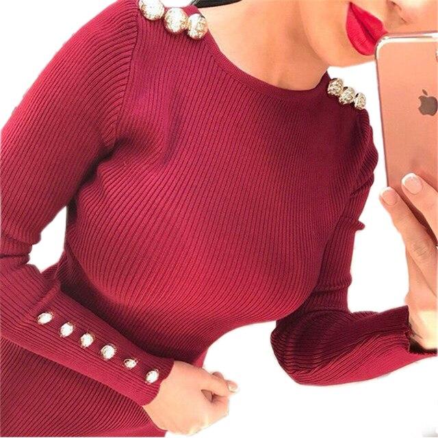 2016 Красивый Заклепки Шипованные Женщины Сексуальное Bodycon Платье Осень Зима Трикотажные Midi Bodycon Платье Свадебные Платья в Твердых Цветах GV420
