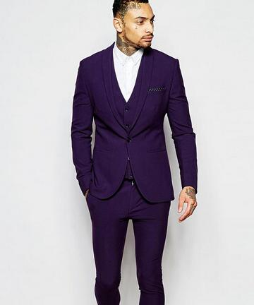 New Fashion Purple Mens Dinner Party Prom Suits Groom Tuxedos Groomsmen Wedding Blazer Suits (Jacket+Pants+Vest+Tie) K:2180