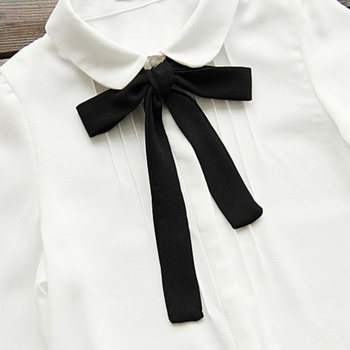 Fashion Women Elegant Bow Tie White Blouses Chiffon Casual Shirt Office Ladies Tops School Blusas Female Clothing new 8